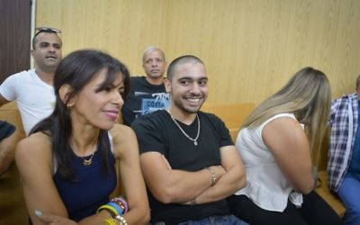 Elor Azaria in the courtroom at the Kirya military base in Tel Aviv, August 8, 2017. (Roy Alima/Flash90)