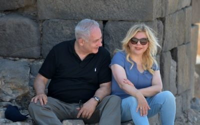 Prime Minister Benjamin Netanyahu and his wife Sara visit Hippos, an archaeological site in Northern Israel, August 15, 2017. (Kobi Gideon/GPO)