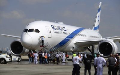 Illustrative: The first Dreamliner purchased by El Al lands at Ben Gurion International Airport on August 23, 2017.(Tomer Neuberg/Flash90)