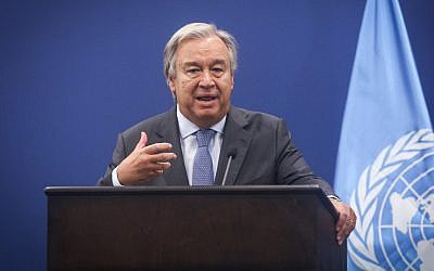 Secretary-General of the United Nations Antonio Guterres at a joint press conference with prime minister of Palestinian Authority Rami Hamdallah in the West Bank city of Ramallah on August 29, 2017. (Flash90)