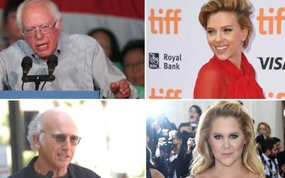 "Top left, clockwise, Bernie Sanders, Scarlett Johansson, Amy Schumer and Larry David are among the Jewish celebrities learning about their ancestry in the upcoming season of ""Finding Your Roots With Henry Louis Gates."" (Sanders photo: George Frey/Getty Images; Johansson photo: C Flanigan/FilmMagic; Schumer photo: Larry Busacca/Getty Images; David photo: Albert L. Ortega/PR Photos)"