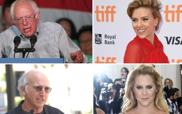 """Top left, clockwise, Bernie Sanders, Scarlett Johansson, Amy Schumer and Larry David are among the Jewish celebrities learning about their ancestry in the upcoming season of """"Finding Your Roots With Henry Louis Gates."""" (Sanders photo: George Frey/Getty Images; Johansson photo: C Flanigan/FilmMagic; Schumer photo: Larry Busacca/Getty Images; David photo: Albert L. Ortega/PR Photos)"""