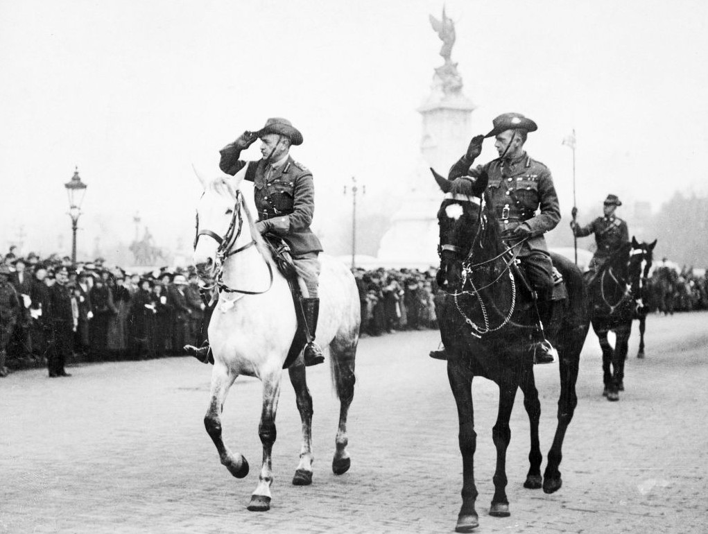 Sir John Monash and General J. J. T. Hobbs passing the saluting base outside Buckingham Palace during an ANZAC Day March, April 25, 1919. (Courtesy of the Australian War Memorial)