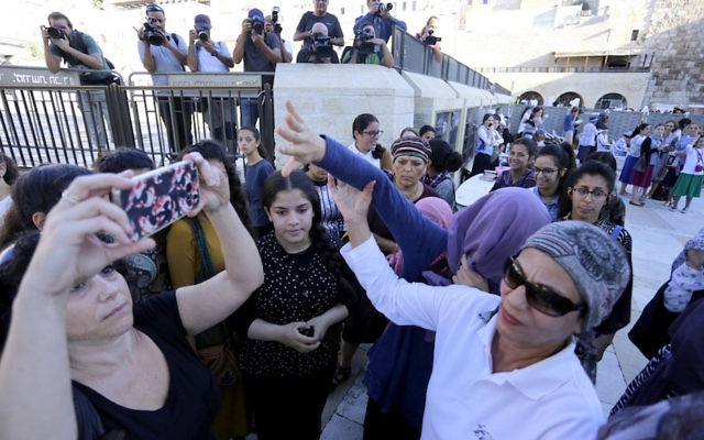 Female worshipers visiting the Western Wall in Jerusalem, August 23, 2017. (Women of the Wall)