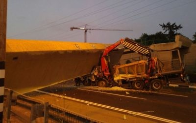The collapsed bridge on Highway 4, near Bnei Brak, August 14, 2017. (United Hatzalah)