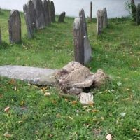 Some 20 headstones were recently overturned and smashed the Jewish cemetery of Svaliava, Ukraine. (Chabad.org)