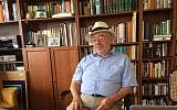 Prof. Jonathan Gershuny in his north London home office. (Jenni Frazer/Times of Israel)