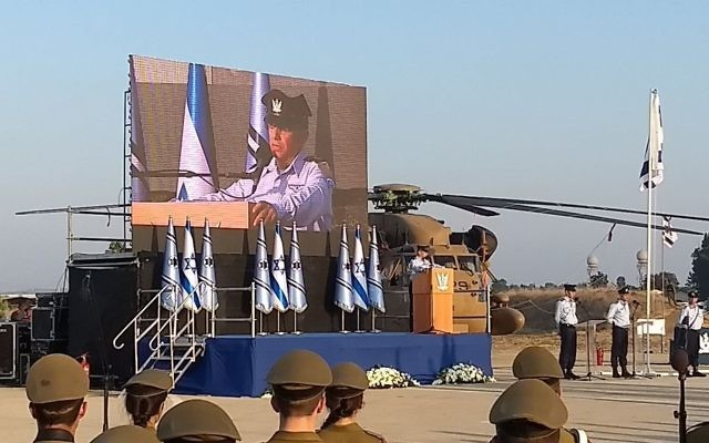 Outgoing chief Israel Air Force chief Maj. Gen. Amir Eshel speaks at the ceremony for his successor Maj. Gen. Amikam Norkin at Tel Nof base in central Israel on August 14, 2017. (Judah Ari Gross/Times of Israel)
