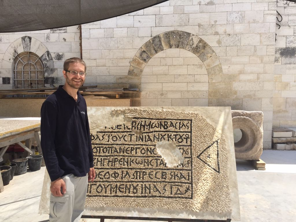 Israel Antiquities Authority director of excavation David Gellman at the IAA's Rockefeller Museum headquarters in Jerusalem, August 23, 2017. (Amanda Borschel-Dan/Times of Israel)