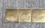 Three Stolpersteine, or 'stumbling stones,' dedicated to the memory of Josef Geer and to the Hauslauers -- a married couple who were Jehovah's Witnesses -- in Salzburg, Austria. (Noah Lederman/Times of Israel)