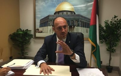 Husam Zomlot, the PLO envoy to Washington, speaks to reporters in Washington, DC, Aug. 17, 2017. (Ron Kampeas/JTA)
