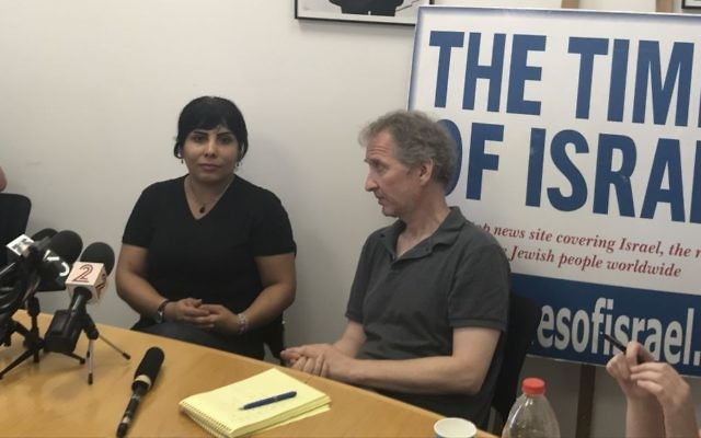 Neda Amin, a blogger for The Times of Israel's Persian edition, speaks to the press at The Times of Israel's office in Jerusalem on August 10, 2017. (Tamar Pileggi/Times of Israel)