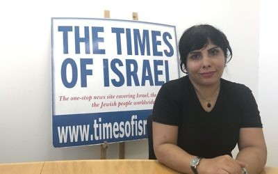 Iranian-born journalist Neda Amin at the The Times of Israel's Jerusalem office, August 10, 2017 (Tamar Pileggi/TOI)