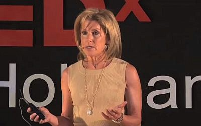 Jamie McCourt speaks at TEDxHolyLand in 2010. (Screen capture: YouTube)