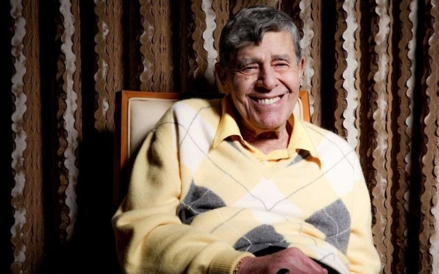 In this August 24, 2016 photo, comedian Jerry Lewis reacts during an interview at the Four Seasons Hotel in Los Angeles. (Photo by Rich Fury/Invision/AP)