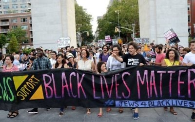 Jews for Racial and Economic Justice (JFREJ), the sister organization of The Jewish Vote, march in support of the Black Lives Matter movement in 2016. (Gili Getz)