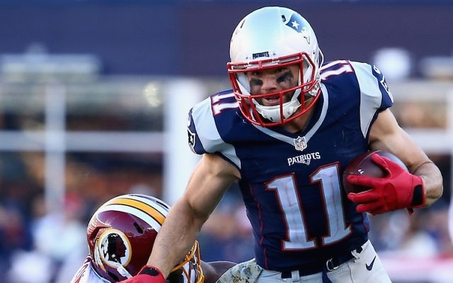 Julian Edelman of the New England Patriots carries the ball against the Washington Redskins at Gillette Stadium on November 8, 2015 in Foxboro, Massachusetts. (Maddie Meyer/Getty Images via JTA)