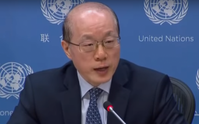 China's Ambassador to the UN Liu Jieyi gives a press conference at the United Nations on July 3, 2017. (Screen capture: YouTube)
