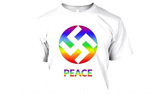 Screen capture from a promotional video for tee-shirts featuring the swastika as a symbol for peace. (Facebook/KA Design)