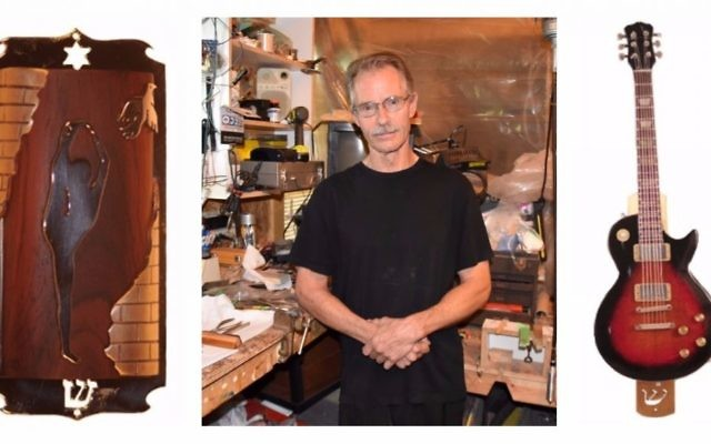 Center: Master mezuzah maker Ric von Neumann in his rural Ontario workshop where he makes his custom cases. Sides: A custom dancer mezuzah case, and a Gibson Les Paul replica mezuzah case. (Courtesy/Libby von Neumann)