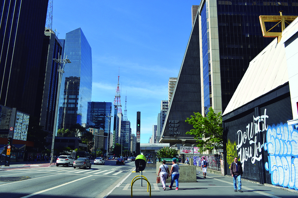 Paulista Avenue in Sao Paulo, Brazil is a main commercial artery, but lately more and more stores are closing down. (Luiz Roiz/Times of Israel)