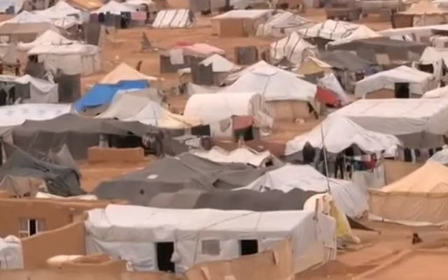 Rukban refugee camp on the Jordan-Syria border. (Screen capture: YouTube/BBC)