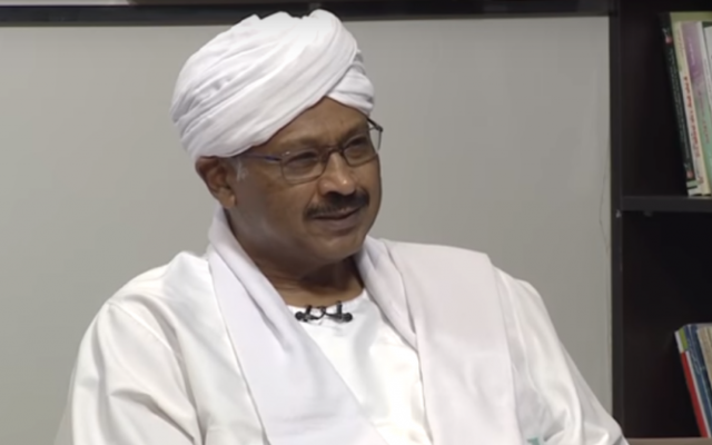 Mubarak Al-Fadil Al-Mahdi, Sudan's minister for investment, is interviewed on Sudanese television. (Screen capture: YouTube)