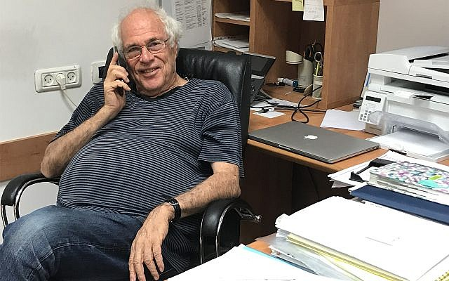 Prof. Zelig Eshhar in his office at the Weizmann Institute of Science. Aug. 29, 2017 (Shoshanna Solomon/Times of Israel)