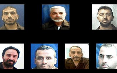 Clockwise from top left, Majd Jaaba, Muhammad Maher Bader, Haron Nasser al-Din, Muasseb Hashalmon, Taha Uthman, Yusri Hashalmon, Umar Qimri, identified by the Shin Bet security service as the leaders of a Hamas operation to illegally bring money into Hebron. (Shin Bet)