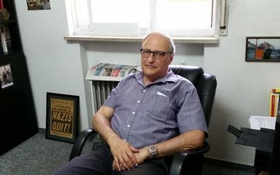 Chief Nazi-hunter of the US-based Jewish rights group Simon Wiesenthal Centre, Efraim Zuroff, during an interview with The Times of Israel on Wednesday, August 17, 2017 (Raphael Ahren/Times of Israel)