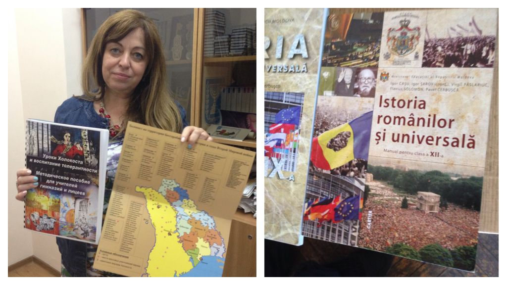 Galina Kargher, the director of the International Center for Training and Professional Development at the Jewish Community Center in Moldova showing the materials they developed for teaching about the Holocaust in Moldova. To the right, a current textbook used in Moldovan schools. (Julie Masis/Times of Israel)
