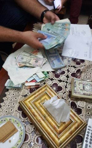 Money seized by Israeli security forces, which is suspected of having been given to families of terrorists by Hamas, on August 14, 2017. (Shin Bet)