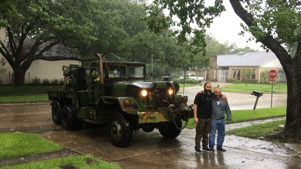 Tomer Ben Shushan and a friend with the rescue truck they procured to help extricate trapped Houstonians from Tropical Storm Harvey, August 27. (Courtesy)