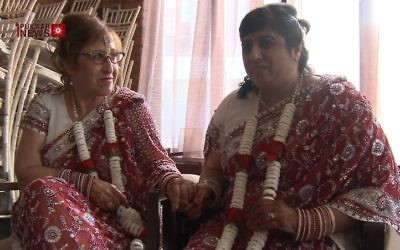 Miriam Jefferson (left) and Kalavati Mistry on their wedding day (YouTube screenshot)