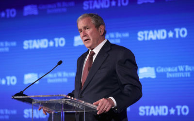 George W. Bush speaking at a conference at the US Chamber of Commerce in Washington, DC, June 23, 2017. (Alex Wong/Getty Images)