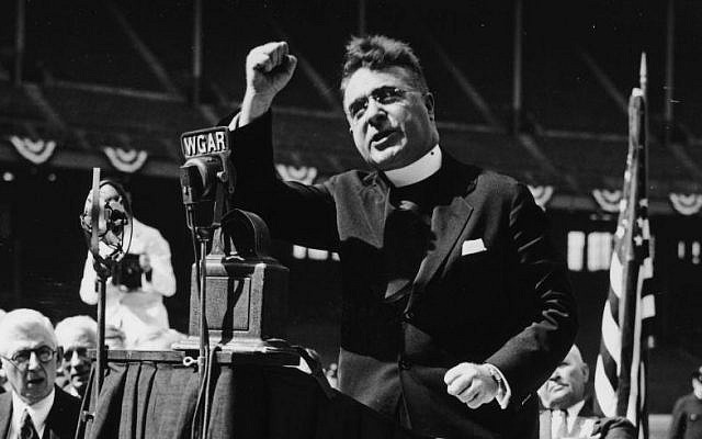 Father Charles Coughlin, known as 'the founder of hate radio,' a leading proponent of American anti-Semitism during the 1930s (Public domain)