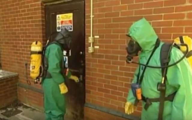 Illustrative: workers take part in a training exercise cleaning up after a chlorine gas leak in southern Britain in 2012. (screen capture: YouTube)