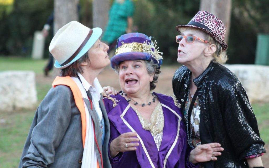 Left to right: Gillian Kay as Gremio, Andrea Katz as Baptista, and Susan Berkson as Tranio in Theater in the Rough's 2017 performance of Shakespeare's 'Taming of the Shrew.' (Courtesy/Merav Blum)