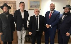 From left: Rabbi Shalom Stembler, head of Chabad Poland; Polish actor and director Artur Hofman; Jaroslaw Kaczynski, head of Poland's Law and Justice party; Jonny Daniels, head of From the Depths; and Rabbi Eliezer Gurary, head of Chabad Krakow, following their meeting in Warsaw, August 16, 2017. (Courtesy of From the Depths/via JTA)