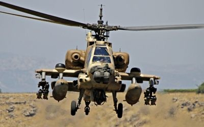 Illustrative photo of an Israeli Air Force Boeing AH-64 Apache helicopter, June 8, 2012. (Ofer Zidon/Flash90)