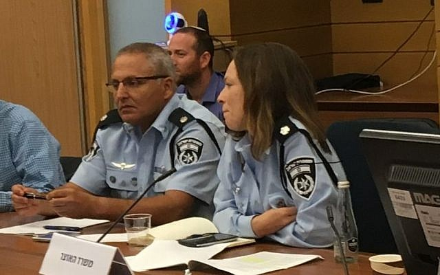 "Police Superintendent Gabi Biton at an August 2, 2017 Knesset panel devoted to a proposed law to ban Israel's binary options industry. (The law passed in October.) Biton told the panel that organized crime in Israel had grown to ""monstrous proportions"" as a result of online investment fraud. (Simona Weinglass/Times of Israel)"