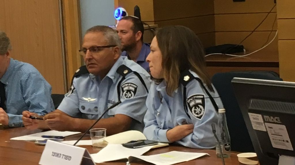 Police Superintendent Gabi Biton at an August 2, 2017 Knesset panel devoted to a proposed law to ban Israel's binary options industry (Simona Weinglass/Times of Israel)