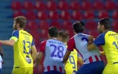 Iranian soccer player Haji Safi, number 28, seen in a game between the Greek club Panionios and Maccabi Tel Aviv on August 4, 2017. (YouTube screenshot)