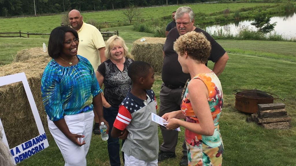 Chrissy Houlahan, right, campaigning at a picnic in Pennsylvania's 6th Congressional District, Aug. 6, 2017. (Courtesy of Houlahan via JTA)