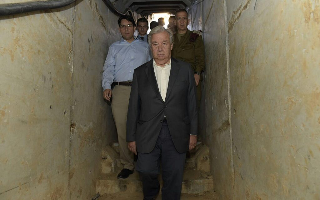 United Nation's Secretary-General Antonio Guterres inspects a tunnel dug by terrorists under the border between the Gaza Strip and Israel during his visit to the region, August 30, 2017. (Israel Defense Forces)