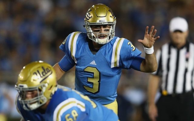 Josh Rosen #3 of the UCLA Bruins calls a play at the line of scrimmage during the first half of a game against the Arizona Wildcats at the Rose Bowl in Pasadena, California, October 1, 2016. (Sean M. Haffey/Getty Images via JTA)