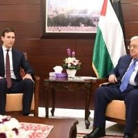 Senior White House Adviser Jared Kushner (L) meets with Palestinian Authority President Mahmoud Abbas in Ramallah on August 24, 2017. (courtesy, WAFA)