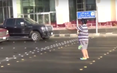 A screenshot from a video of a 14-year-old boy in the Saudi city of Jeddah dancing the Macarena. (Screen capture: YouTube)