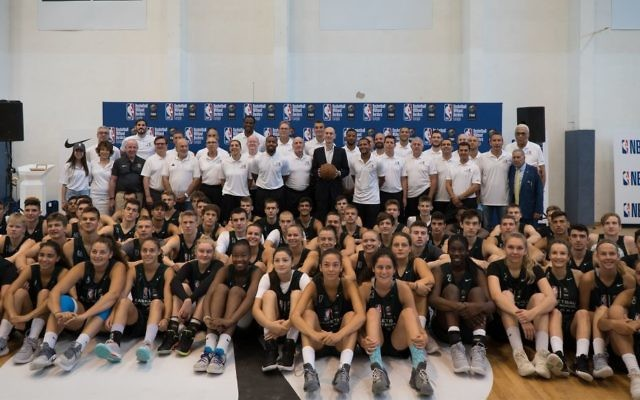 Players and coaches at a Basketball Without Borders training session at the Wingate Institute in Israel, August 14, 2017. (Luke Tress/Times of Israel)