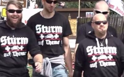 Attendees at the neo-Nazi 'Rock against Foreign Domination' festival  in Thuringia, Germany on July 15, 2017. (Screen capture/YouTube)